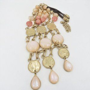 Chico's Pale Pink and Gold Tone Coin Bib Necklace
